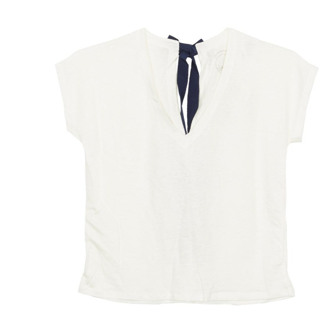 Short Sleeved Linen Top with Black Tie in White