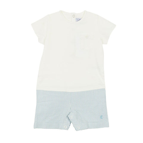 Frog Short Sleeved Seersucker Romper in Blue + White