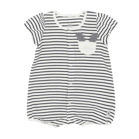 Fait Short Sleeved Bubble Onesie in Navy + White