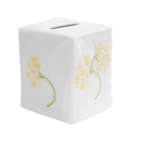 Hydrangea Tissue Box Cover in Ivory