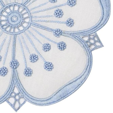 Embroidered Petal Coaster Set in Blue + White