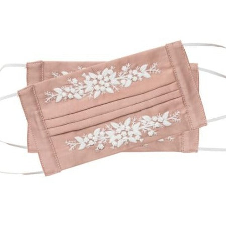 Jardin Embroidered Face Mask in Bayberry + White