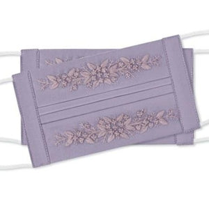 Jardin Embroidered Face Mask in Lavender + Lavender