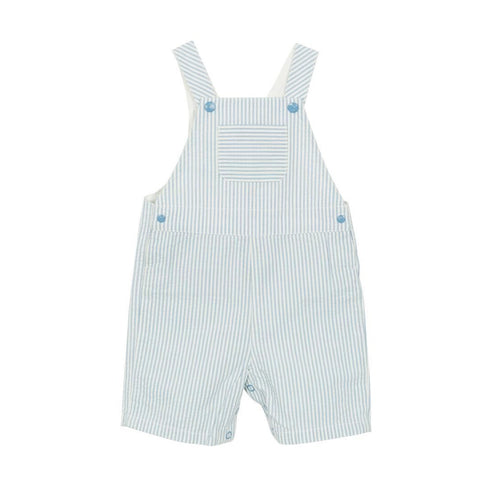 Fatal Seersucker Striped Overalls in Blue + White