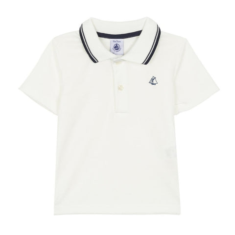 Fastiche Short Sleeved Polo Shirt in White + Navy
