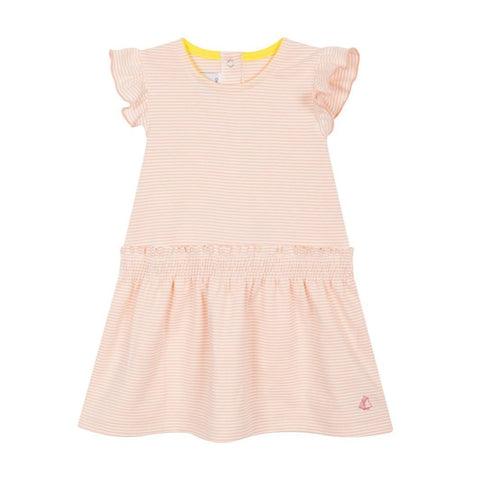 Fidji Striped Sleeveless Dress with Smocked Waist in Pink + White
