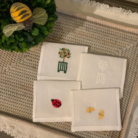 Hand Embroidered Jardin Cocktail Napkin
