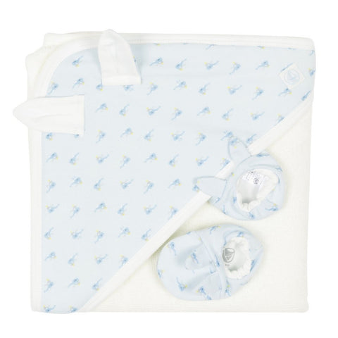 Fabas Towel + Booties Set in Blue + White