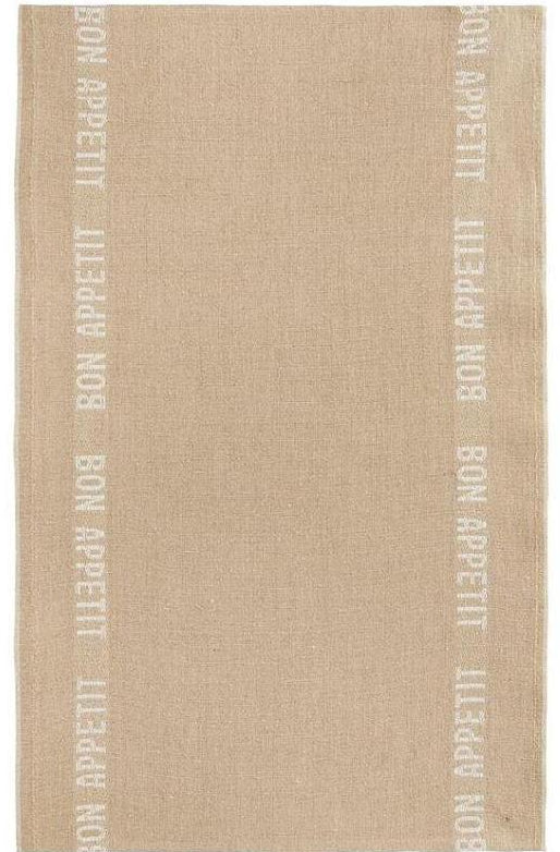 Bon Appetit Tea Towel in Linen + Blanc