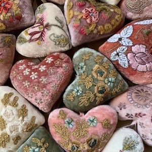 Embroidered Velvet Hearts