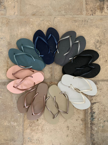 Slim Flip Flops in Black