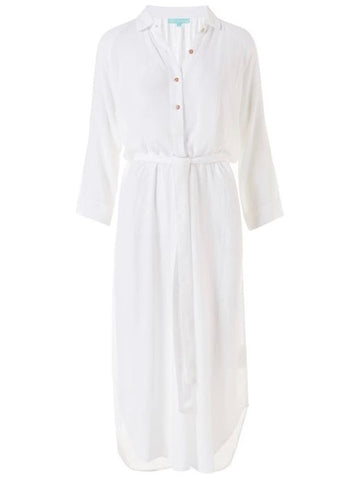 Alesha Belted Midi Shirt Dress in White
