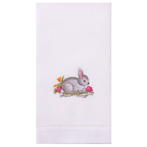 Embroidered Gray Bunny Everyday Towel