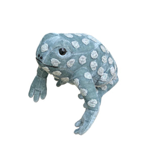 Dotty Silk Velvet Frog in Arctic Blue