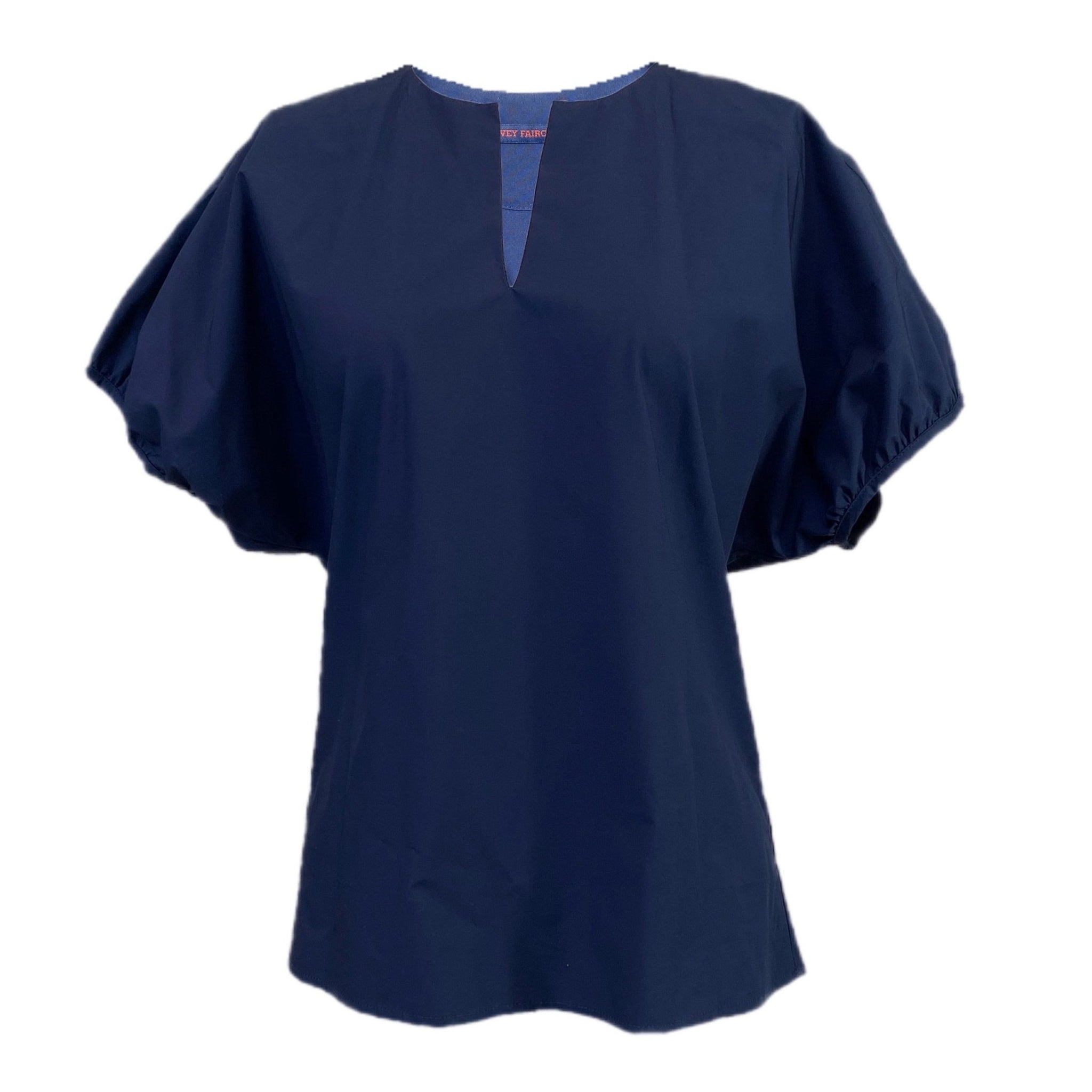 Oversize Puff Sleeve Top in Navy