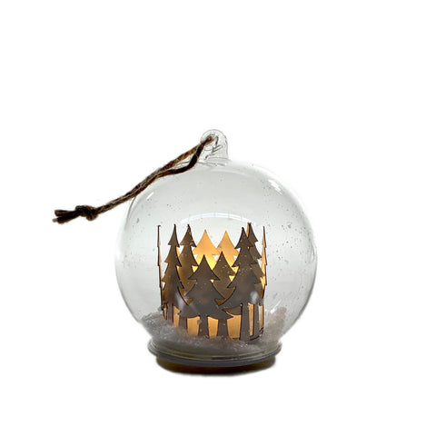 Glass Ball with Snow & Tree Ornament