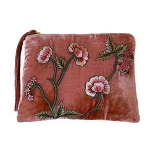 New Rose Velvet Zip Pouch in Shaded Rose