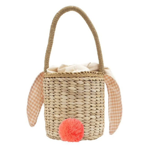 Gingham Lined Straw Bunny Bucket Bag
