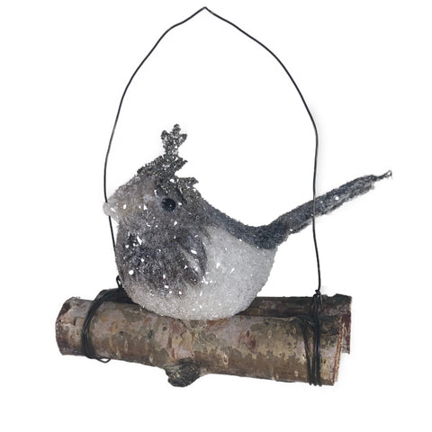 Baby Bird on Log Hanging Ornament