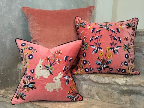 Renaissance Floral Embroidered Decorative Pillow in Melba