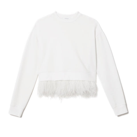 Sweatshirt with Feathers in White