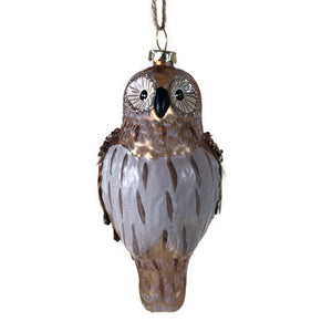 Painted Owl with Pinecone + Feather Wings Ornament