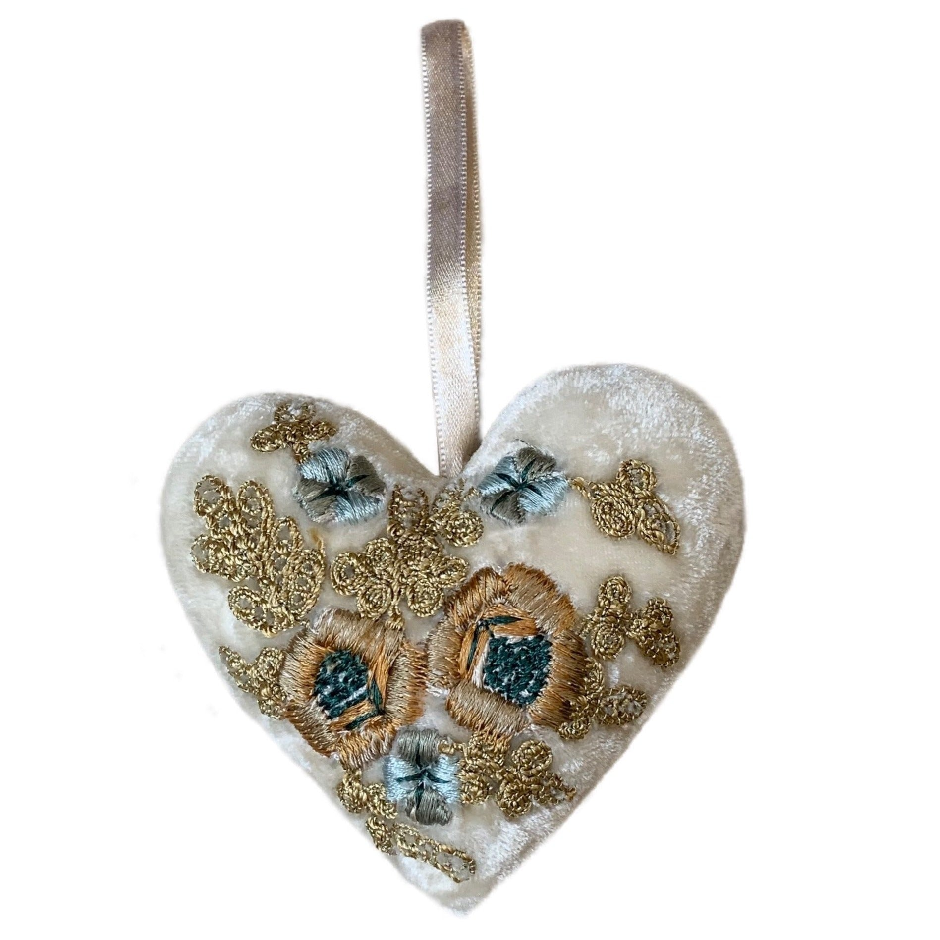 Miranda Silk Velvet Heart in Ivory Gold