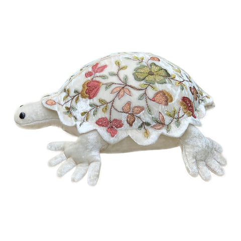 Abby Small Silk Velvet Turtle in Silver