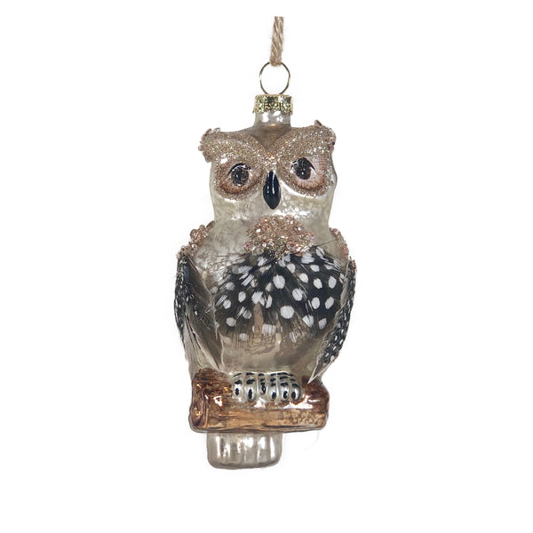 Spotted Feather Owl on Log Ornament