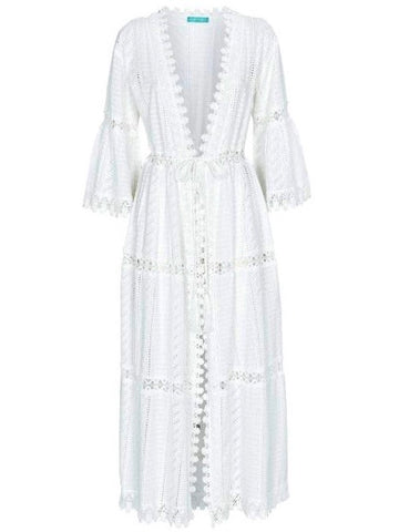 Robbi Open Front Lace Maxi Kaftan in White