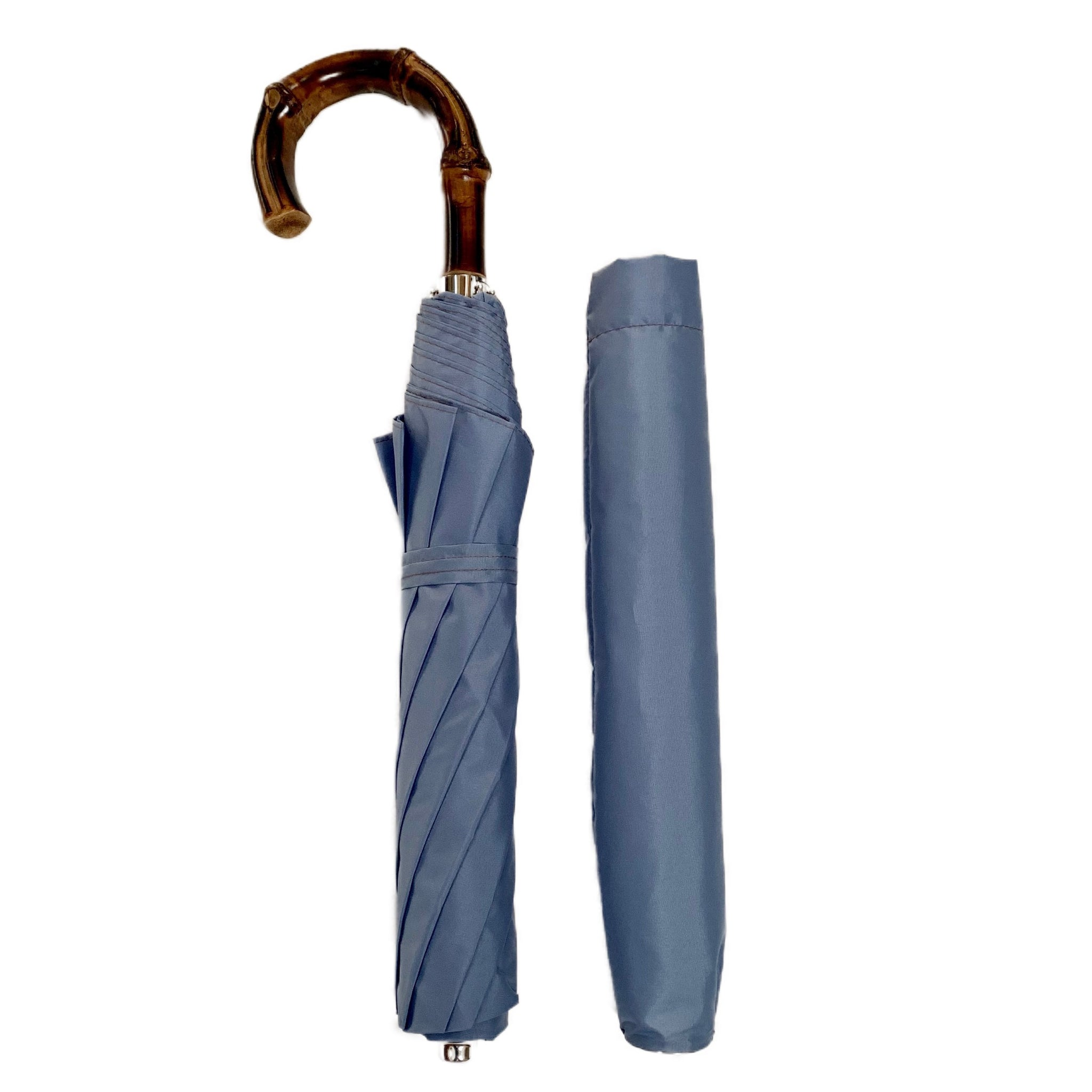 Bamboo Handled Umbrella in Robin Blue
