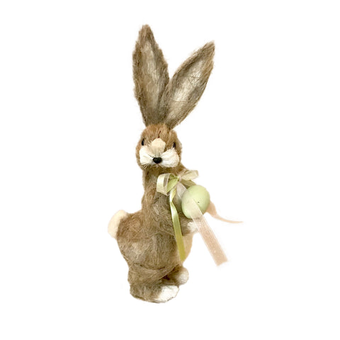 Jute Standing Rabbit with Green Egg