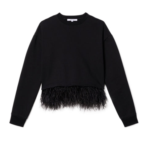 Sweatshirt with Feathers in Black