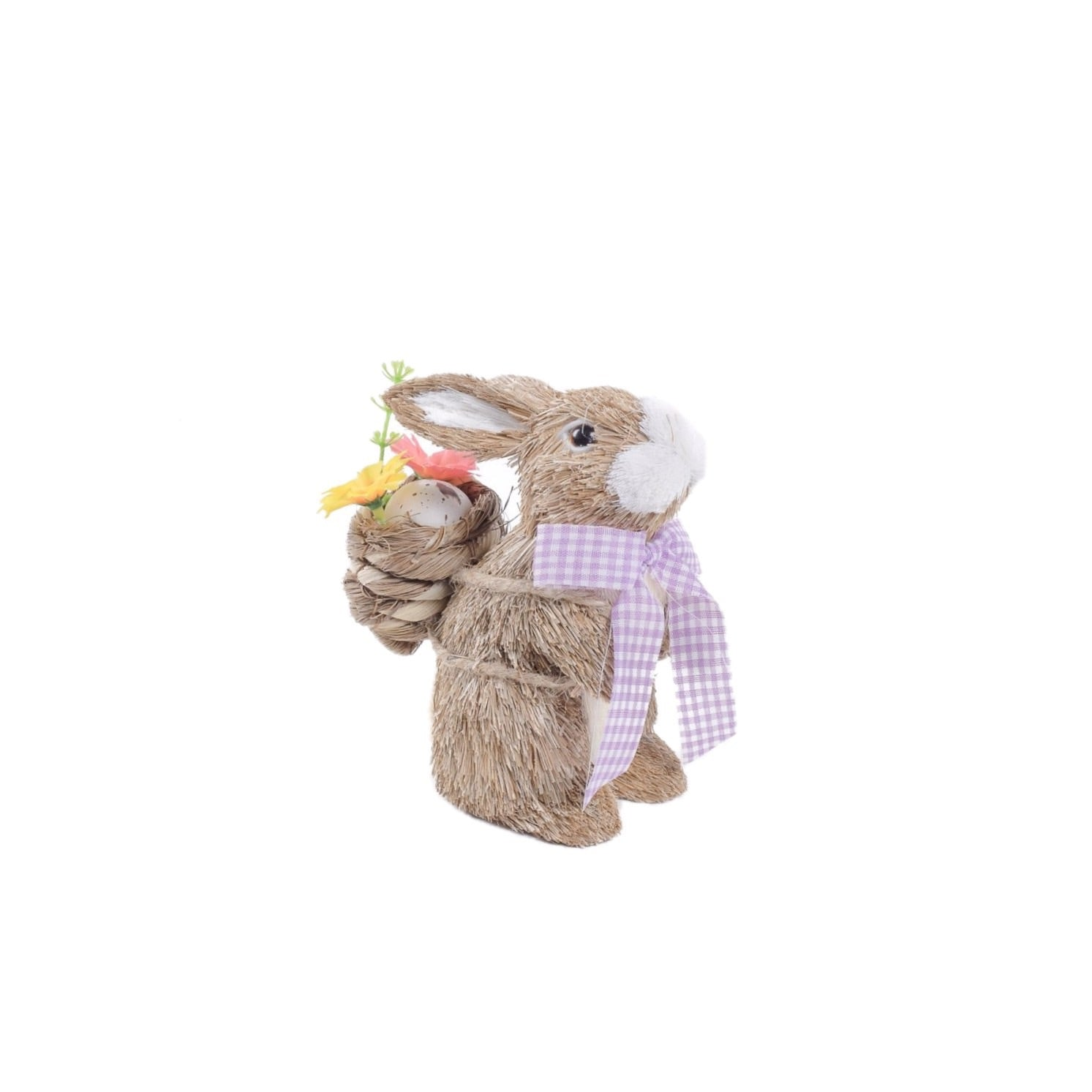 Jute Rabbit with Backpack Basket