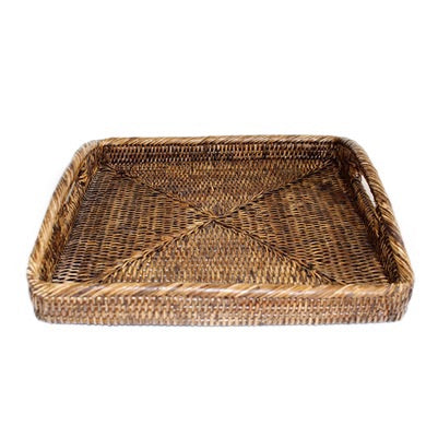 Antique Brown Square Morning Tray
