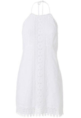 Poppy Embroidered Halter Dress in White