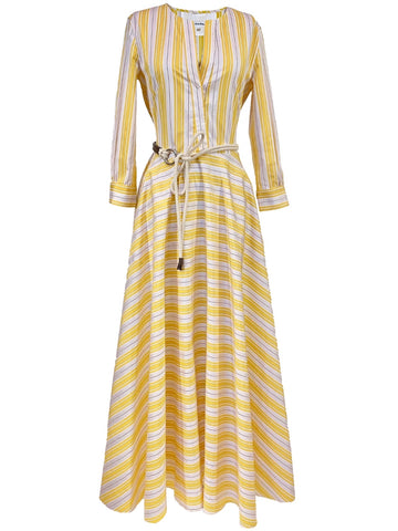 Three Quarter Sleeve Midi Dress in Yellow Stripe