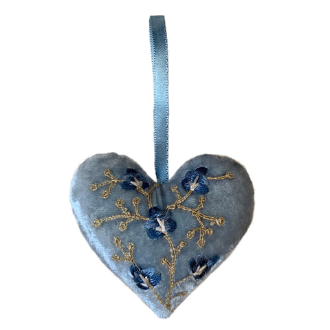 Misha Silk Velvet Heart in Heavenly Blue