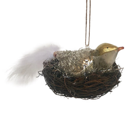 Bird in Nest Hanging Ornament
