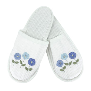 Row of Flowers White Waffle Slippers in Blue