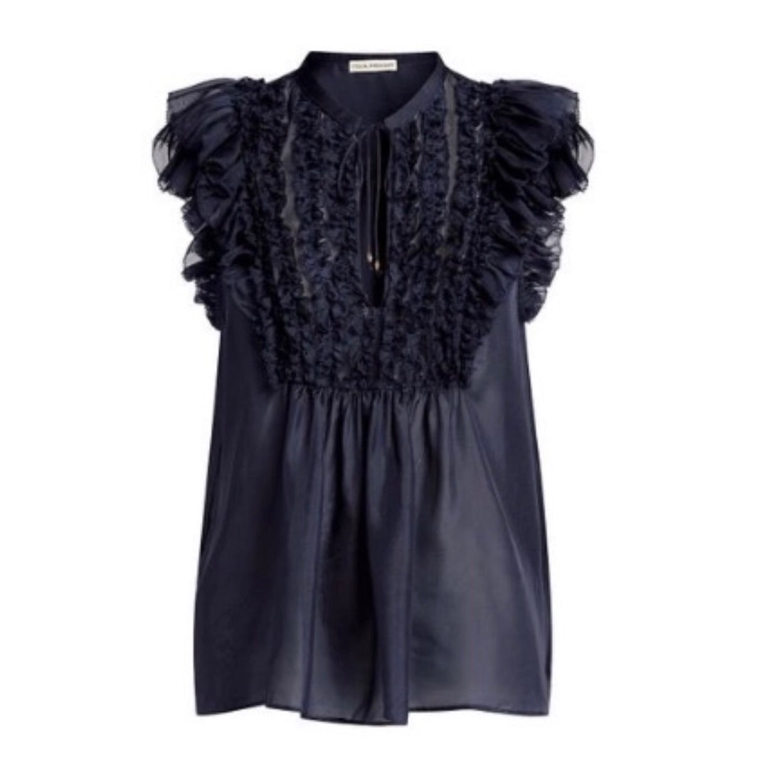 Evona Ruffle Top in Midnight