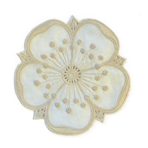 Embroidered Petal Coaster Set in Ecru + White