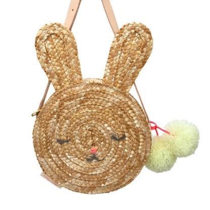 Woven Straw Bunny Purse