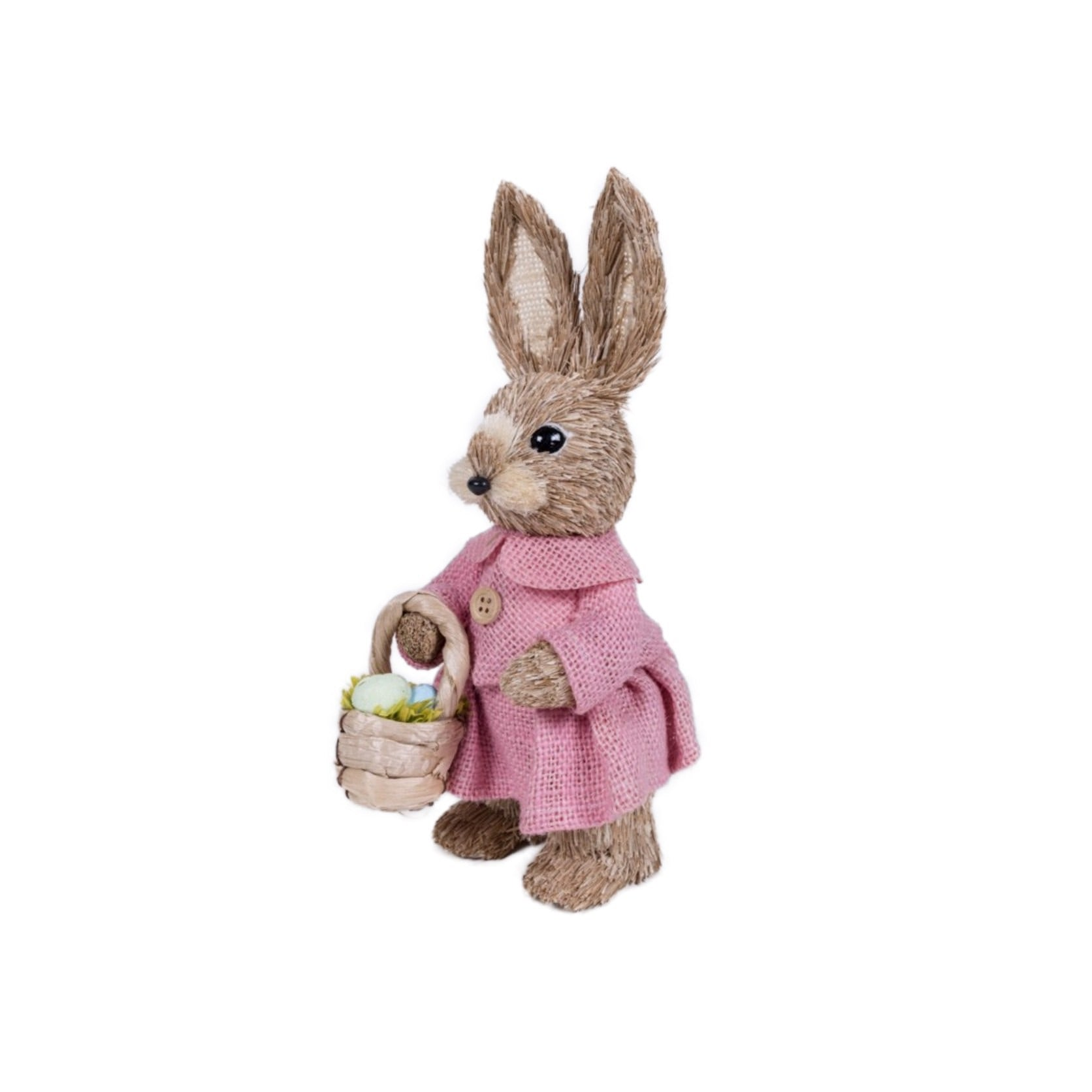Jute Rabbit in Pink Dress with Basket