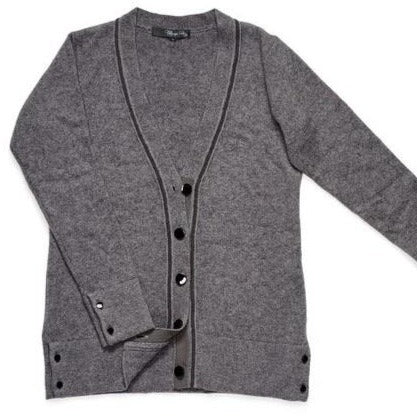 Cashmere Cardigan in Pearl Gray with Monli Bead Trim