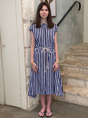 Rope Belted Day Dress in Navy Stripe