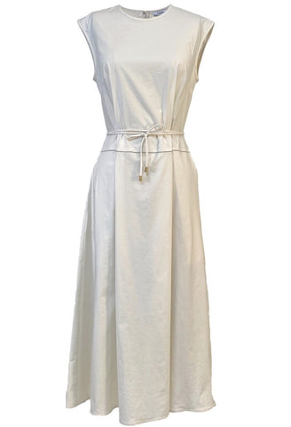 Sail Cloth Cap Sleeve Dress with Thin Belt in Cream