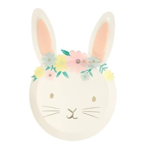 Floral Bunny Paper Plate Set