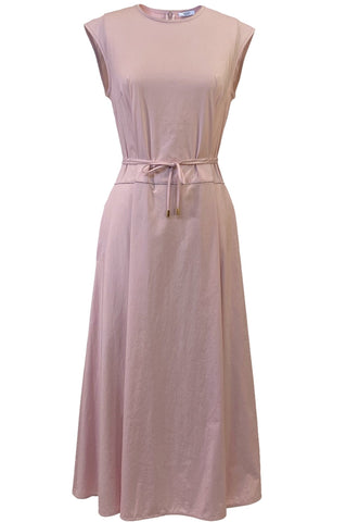 Sail Cloth Cap Sleeve Dress with Thin Belt in Blush