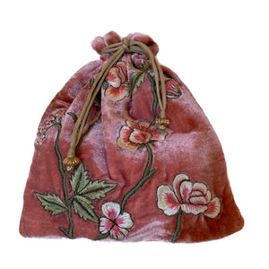 New Rose Velvet String Pouch